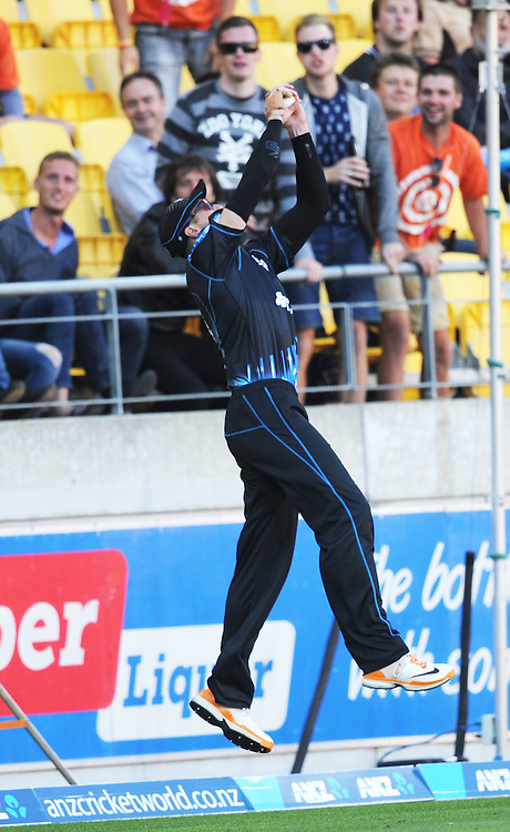 New Zealand's Martin Guptill takes a catch on the boundary to dismiss West Indies Johnson Charles for 7 in the second T20 International cricket match, Westpac Stadium, Wellington, New Zealand, Wednesday, January 15, 2014. Credit:SNPA / Ross Setford