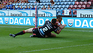 Darnell McIntosh of Huddersfield Giants dives over to score during the Betfred Super League match at the John Smiths Stadium, Huddersfield<br /> Picture by Richard Land/Focus Images Ltd +44 7713 507003<br /> 12/07/2018