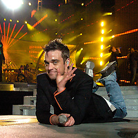 Robbie Williams plays live at Hampden Park.