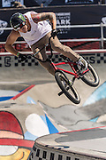 Bicycle stunts at the skatepark at Huntington Beach, California, During the VANS US open competition.July 27 2016