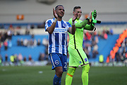 Brighton & Hove Albion defender Liam Rosenior (23) and Brighton & Hove Albion goalkeeper David Stockdale (13) applaud the crowd during the EFL Sky Bet Championship match between Brighton and Hove Albion and Blackburn Rovers at the American Express Community Stadium, Brighton and Hove, England on 1 April 2017.