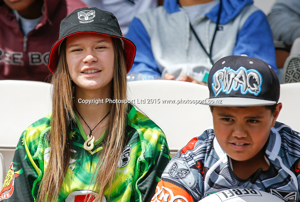 Young Warriors fans. NRL trial match, Vodafone Warriors vs Penrith Panthers, International Stadium, Rotorua, New Zealand. Saturday, 14 February, 2015. Photo: John Cowpland / www.photosport.co.nz