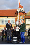 Nathaniel Crosby (USA) Team Captain (right) receives the Walker Cup from Royal. Liverpool Club Captain Tudor Williams after USA's  victory 15.5 to 10.5 to retain the Walker Cup at the Royal Liverpool Golf Club, Sunday, Sept 8, 2019, in Hoylake, United Kingdom. (Steve Flynn/Image of Sport)