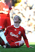Fernando Torres (Liverpool) looks to the gods for an explanation. Fulham v Liverpool, Barclays Premier League,  Craven Cottage,  London. 4th April 2009.