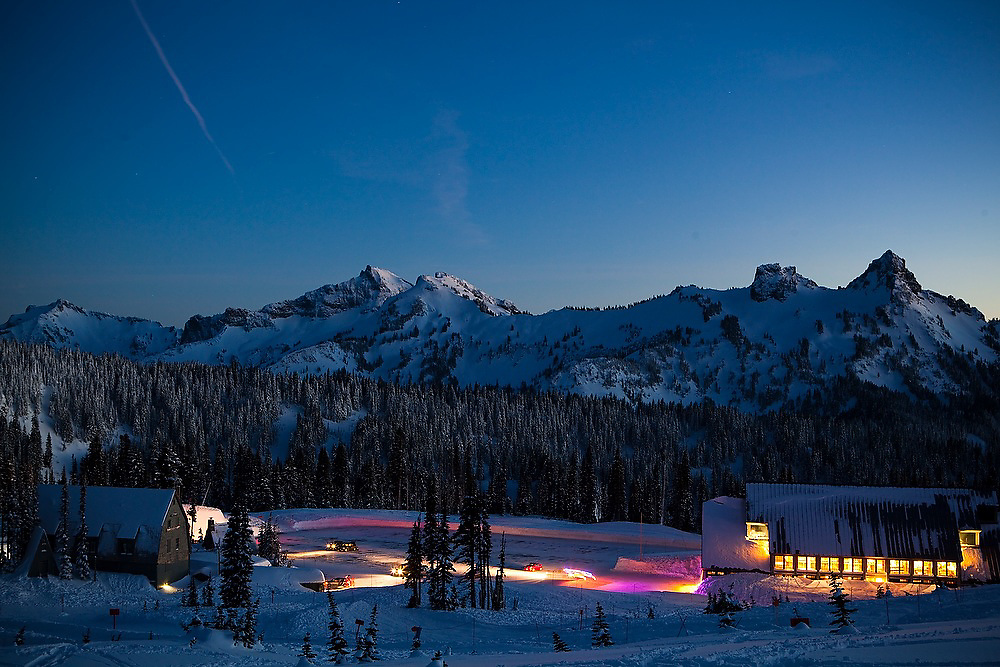 The last visitors depart from the parking lot and visitor center at Paradise, Mount Rainier National Park, Washington.