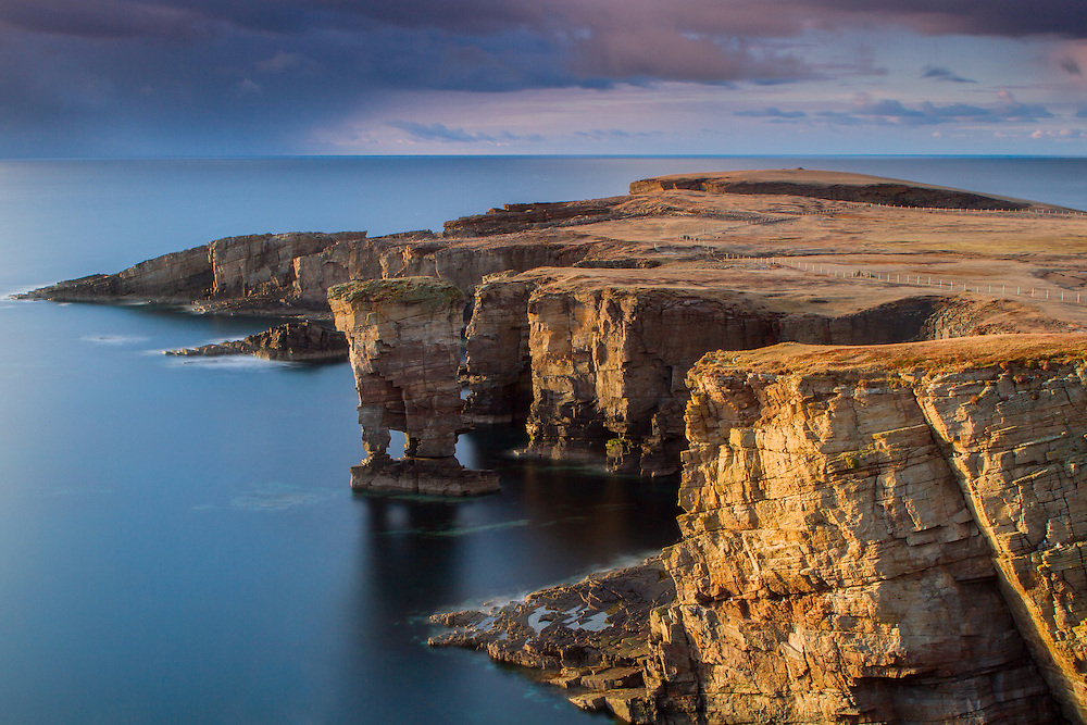 Dusk light over the Sea stack at Yesnaby of the weat coast of Orkney at dusk.