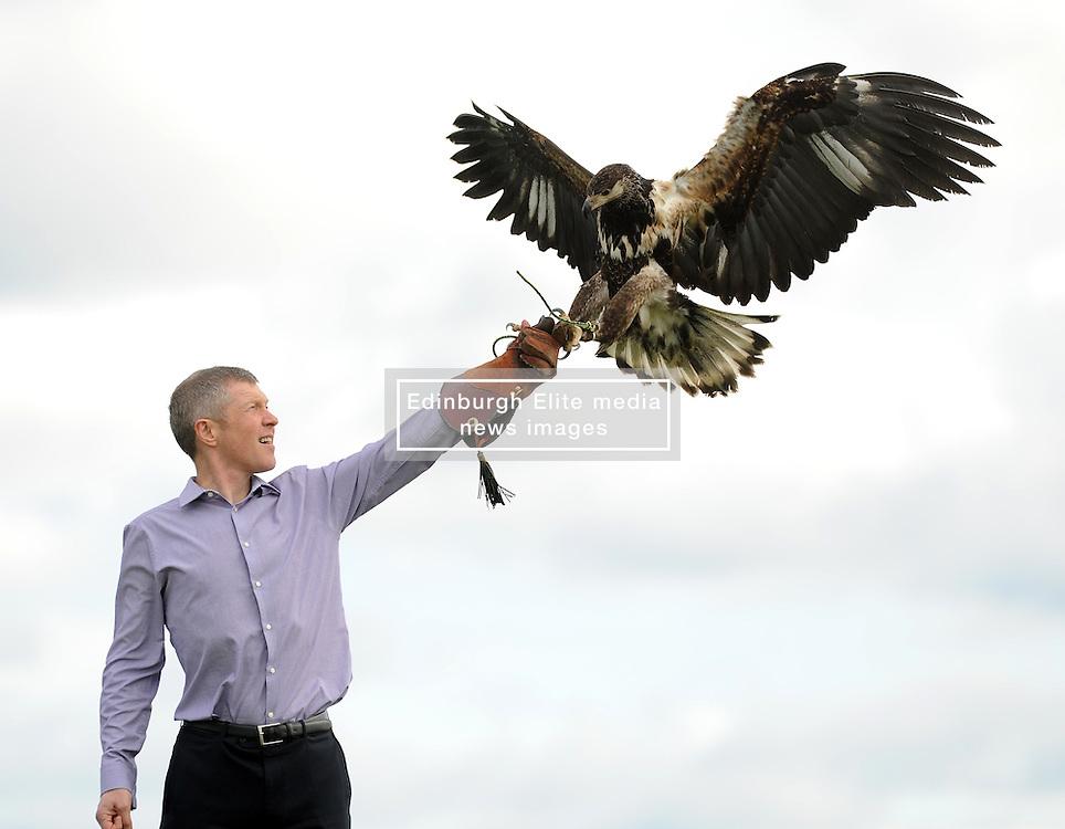 Willie Rennie, Elite Falconry, Cluny, 7-4-2016<br /> <br /> Willie seen with Riply the African Fish Eagle<br /> <br /> (c) David Wardle   Edinburgh Elite media