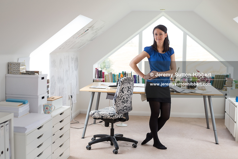 Johanna Basford, illustrator author and artist, in her studio and in the country lanes near her home where she finds inspiration, in Ellon, Scotland, on Wednesday, 23 September 2015.
