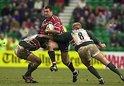 © Peter Spurrier/ Intersport Images.Photo Peter Spurrier.01/03/2003 Sport - Semi final Powergen Cup Rugby -.Leicester  v Gloucester - Franklin Gardens Gloucester full back Thinus Delport on the attack..