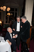 SIR JOHN RICHARDSON; SIR TOM STOPPARD; ; RIFAT OZBEK;  The London Library Annual  Life in Literature Award 2013 sponsored by Heywood Hill. The London Library Annual Literary dinner. London Library. St. james's Sq. London. 16 May 2013.