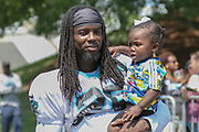 Carolina Panthers cornerback Donte Jackson (26) with his daughter, Demi, during training camp at Wofford College, Saturday, July 27, 2019, in Spartanburg, S.C. (Brian Villanueva/Image of Sport)
