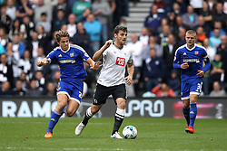 Chris Martin of Derby County is put under pressure from James Tarkowski of Brentford - Mandatory byline: Robbie Stephenson/JMP - 07966 386802 - 03/10/2015 - FOOTBALL - iPro Stadium - Derby, England - Derby County v Brentford - Sky Bet Championship