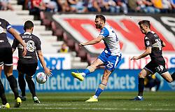 Alex Bruce of Bury blocks a shot from Wigan Athletic's Nick Powell - Mandatory by-line: Matt McNulty/JMP - 13/08/2017 - FOOTBALL - DW Stadium - Wigan, England - Wigan Athletic v Bury - Sky Bet League One