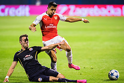 Alexis Sanchez #17 of Arsenal F.C. vs Ivo Pinto #6 of GNK Dinamo Zagreb during football match between GNK Dinamo Zagreb, CRO and Arsenal FC, ENG in Group F of Group Stage of UEFA Champions League 2015/16, on September 16, 2015 in Stadium Maksimir, Zagreb, Croatia. Photo by Ziga Zupan / Sportida