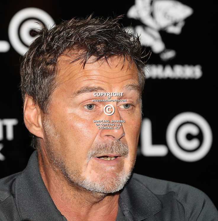 DURBAN, SOUTH AFRICA - FEBRUARY 16: Robert du Preez (Head Coach) of the Cell C Sharks during the Cell C Sharks press conference at Growthpoint Kings Park on February 16, 2017 in Durban, South Africa. (Photo by Steve Haag/Gallo Images)