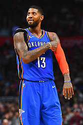 March 9, 2019 - Los Angeles, CA, U.S. - LOS ANGELES, CA - MARCH 08: Oklahoma City Thunder Forward Paul George (13) looks on during a NBA game between the Oklahoma City Thunder and the Los Angeles Clippers on March 8, 2019 at STAPLES Center in Los Angeles, CA. (Photo by Brian Rothmuller/Icon Sportswire) (Credit Image: © Brian Rothmuller/Icon SMI via ZUMA Press)