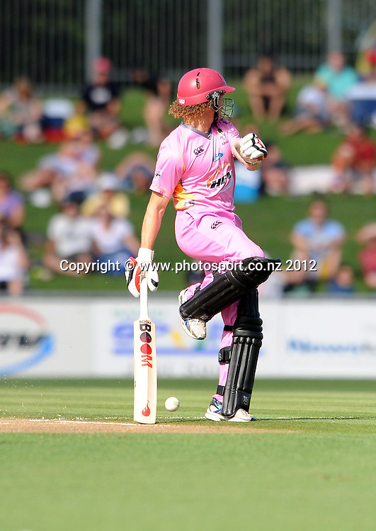 Northland Knight's Hamish Marshall is hit with the ball as he runs in the HRV Twenty20 Cricket match between the Central Stags and Northern Knights at McLean Park, Napier, New Zealand. Saturday 14 January 2012. Photo: Kerry Marshall / photosport.co.nz