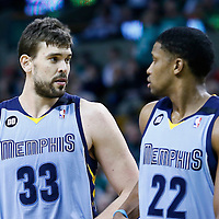 02 January 2013: Memphis Grizzlies center Marc Gasol (33) talks to Memphis Grizzlies small forward Rudy Gay (22) during the Memphis Grizzlies 93-83 victory over the Boston Celtics at the TD Garden, Boston, Massachusetts, USA.
