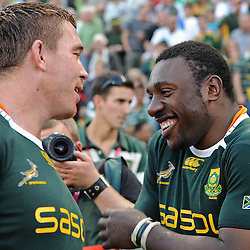 John Smit with Tendai Mtawarira of South Africa <br /> during the British and Irish Lions tour 2009