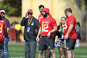 Jan 23, 2019; Kissimmee, FL, USA;  Indianapolis Colts quarterback Andrew Luck (12) with Buffalo Bills Head Coach Sean McDermott at the NFC team practice at the 2019 Pro Bowl at ESPN Wide World of Sports Complex. (Kim Hukari/Image of Sport)