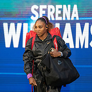 2019 US Open Tennis Tournament- Day Eleven.  Serena Williams of the United States enters the court for her match against Elina Svitolina of the Ukraine in the Women's Singles Semi-Finals match on Arthur Ashe Stadium during the 2019 US Open Tennis Tournament at the USTA Billie Jean King National Tennis Center on September 5th, 2019 in Flushing, Queens, New York City.  (Photo by Tim Clayton/Corbis via Getty Images)