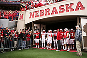 Players about to take the field for the Nebraska Huskers Spring Game on April 21, 2018. Photo by Ryan Loco.