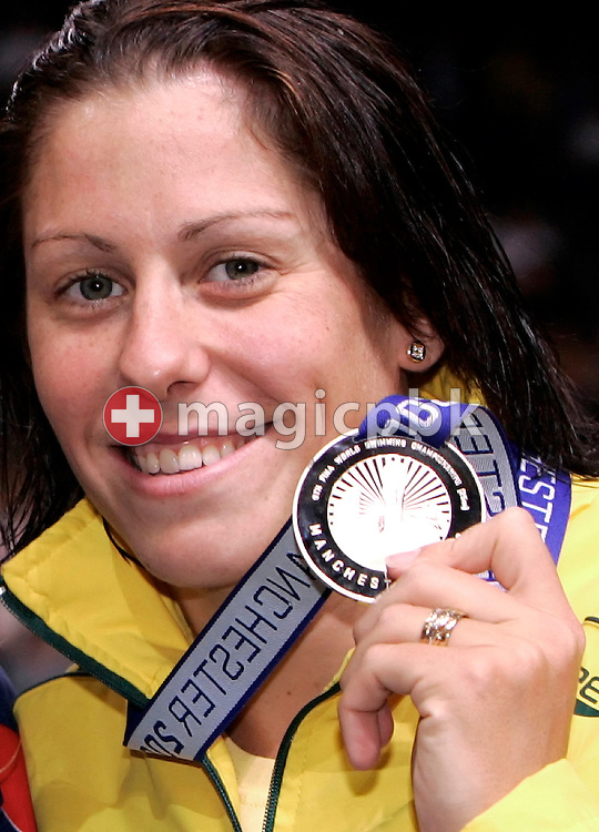 Second placed Jade EDMISTONE of Australia poses with her silver medal after competing  in the women's 100m breaststroke final in the Duncan Goodhew pool at the FINA Swimming World Championships (25m) in Manchester, Great Britain, Saturday, April 12, 2008. (Photo by Patrick B. Kraemer / MAGICPBK)