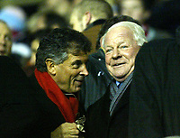 Photo: Chris Ratcliffe.<br />Arsenal v Wigan Athletic. Carling Cup. 24/01/2006.<br />Dave Whelan (R), the Wigan chairman chats with his Arsenal counterpart David Dein, about the England job?