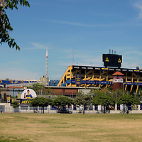 South America, Argentina, Buenos Aires. La Boca football stadium, La Bombonera, home to Boca Juniors Football Club.