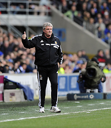 Hull City Manager, Steve Bruce gives the thumbs up - Photo mandatory by-line: Joe Meredith/JMP - Tel: Mobile: 07966 386802 22/02/2014 - SPORT - FOOTBALL - Cardiff - Cardiff City Stadium - Cardiff City v Hull City - Barclays Premier League