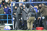 Jose Mourinho & Head Coach David Wagner shake hands at the end of the The FA Cup match between Huddersfield Town and Manchester United at the John Smiths Stadium, Huddersfield, England on 17 February 2018. Picture by George Franks.
