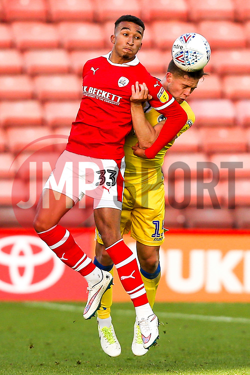 James Clarke of Bristol Rovers beats Jacob Brown of Barnsley in the air - Mandatory by-line: Robbie Stephenson/JMP - 27/10/2018 - FOOTBALL - Oakwell Stadium - Barnsley, England - Barnsley v Bristol Rovers - Sky Bet League One