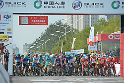 September 9, 2016 - Tianjin, China - Riders on the start line ahead of the opening stage of the 2016 edition of Tour of China 1..Wuqing district of Tianjin, the fourth largest city in China, is located in the core of Jingjinji economical circle, also known as Beijing-Tianjin-Hebei, the national capital region region of China, with a distance of 71km from Beijing. .Wuqing, as the national ecological demonstration zone, is largely covered by trees (average 36.4%), and 11 national first and second class rivers, including Beiyun, Longfeng and Yongding river are crossing here. The region also attracted over 250 large firms and corporations listed in Fortune 500 companies..On Friday, 9 September 2016, in Tianjin, China. (Credit Image: © Artur Widak/NurPhoto via ZUMA Press)