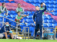 Football - 2019 / 2020 Championship - Play-off semi-final - 1st leg - Cardiff City vs Fulham<br /> <br /> Cardiff City manager Neil Harris shouts on the touchline<br /> in a match played with no crowd due to Covid 19 coronavirus emergency regulations, in an almost empty ground, at the Cardiff City Stadium<br /> <br /> COLORSPORT/WINSTON BYNORTH