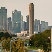 Downtown Kansas City skyline Panorama photo in evening