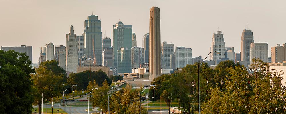Downtown Kansas City skyline Panorama photo in evening