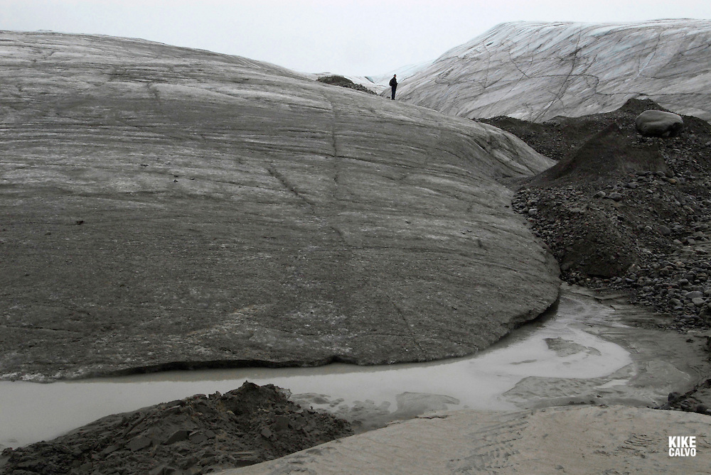 Sermilik Glacier. Sirmilik National Park. Bylot Island. Pond Inlet, Baffin Island. High Arctic. Canada&amp;#xA;( isolated, remote, tourist, hike, hiking, foggy, weather, rock, rockly. tongue,<br />