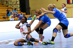 Siraba Dembele of France, Neli Irman of Slovenia and Sanja Gregorc of Slovenia during handball match between National Teams of Slovenia and France in Qualification of 2015 Women's European Championship, on June 13th, in Rdeca Dvorana, Velenje. Photo by Morgan Kristan / Sportida