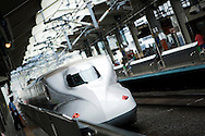 TREVOR HAGAN - A Shinkansen departs from Kyoto Station. Kyoto, Japan..August 20, 2008