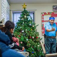 Kenneth A. Joe tells a traditional story in the Diné language at the Behavioral Health Department in Crownpoint Wednesday.
