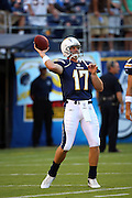 SAN DIEGO, CA - AUGUST 30:  Quarterback Philip Rivers #17 of the San Diego Chargers unloads a pass during pregame warmups at the NFL preseason game with the San Francisco 49ers at Qualcomm Stadium on August 30, 2007 in San Diego, California. The Chargers defeated the 49ers 16-13. ©Paul Anthony Spinelli *** Local Caption *** Philip Rivers