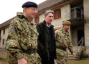 © Licensed to London News Pictures. 09/03/2012. Copedown Hill, UK. (Left to right) David Richards, Chief of Defence Staff, Philip Hammond, Secretary of Defence and Brigadier Doug Chalmers.  Secretary of Defence Philip Hammond visits troops who are being deployed to Afghanistan next month. The 12thMechanized Brigade (12 Mech Bde) at Copehill Down, Salisbury Plain Training Area, Wiltshire,on FRIDAY 09 MARCH 2012, as it prepares to deploy to Helmand Province, Afghanistan, on Operation Herrick 16, in the Spring of this year. The Brigade were performing a dynamic demonstration of combined Afghan/ISAF operations supported by surveillance assets and casualty evacuation capability. Tornado GR4 fast jest ground support was also displayed.. Photo credit : Stephen SImpson/LNP