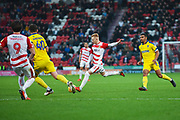 Ali Crawford of Doncaster Rovers (11) scores a goal to make the score 1-1 during the EFL Sky Bet League 1 match between Doncaster Rovers and AFC Wimbledon at the Keepmoat Stadium, Doncaster, England on 17 November 2018.
