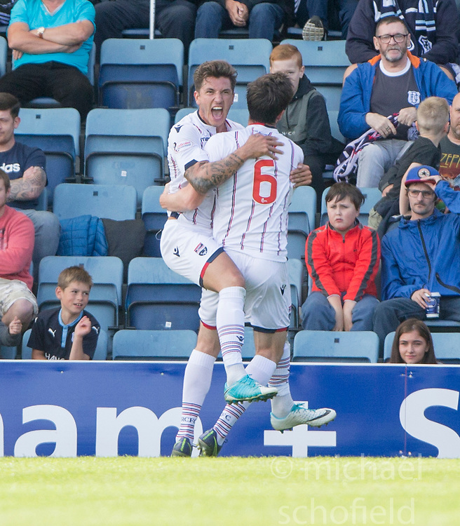 Ross County's Christopher Routis (4) cele scoring their second goal. Dundee 1 v 2 Ross County, Scottish Premiership game played 5/8/2017 at Dundee's home ground Dens Park.