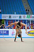 Hayakawa Sakura during qualifying at hoop in Pesaro World Cup 10 April 2015. Sakura is a Japan rhythmic gymnastics athlete born March 17, 1997 in Osaka, Japan. She appeared in Senior competitions in the 2013 season.