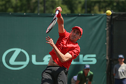 April 11, 2018 - Houston, TX, U.S. - HOUSTON, TX - APRIL 11: Philipp Oswald (AUT) hits an overhead during the Doubles first round of the US Men's Clay Court Championship on April 11, 2018 at River Oaks Country Club in Houston, Texas. (Photo by George Walker/Icon Sportswire) (Credit Image: © George Walker/Icon SMI via ZUMA Press)