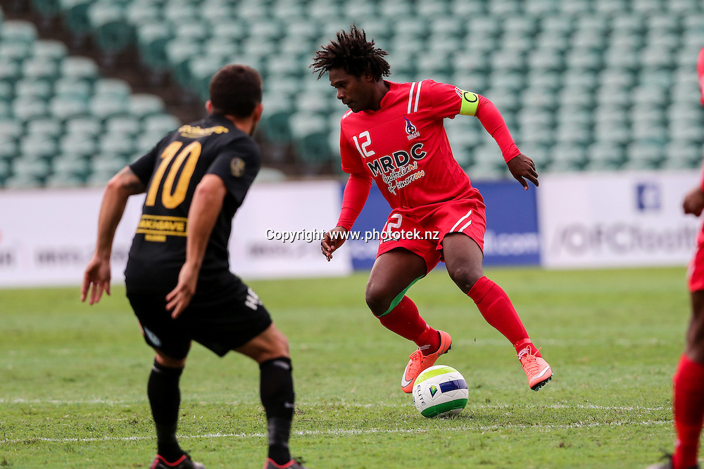 Hekari's David Muta on the ball. OFC Champions League 2016 Group Stage, Team Wellington v Hekari United, QBE Stadium, Auckland, Saturday 16th April 2016. Photo: David Joseph / www.phototek.nz