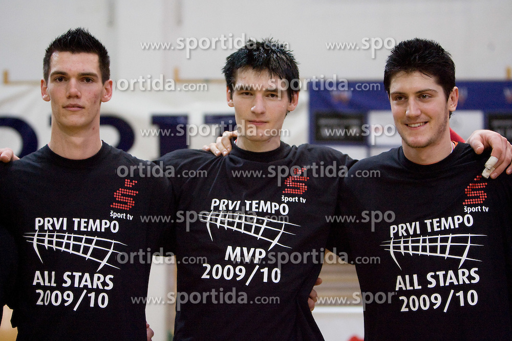 Alen Sket, Vid Jakopin and Matevz Kamnik of ACH as all star pleayers after the final match of Slovenian National Volleyball Championships between ACH Volley Bled and Salonit Anhovo, on April 24, 2010, in Radovljica, Slovenia. ACH Volley defeated Salonit 3rd time in 3 Rounds and became Slovenian National Champion.  (Photo by Vid Ponikvar / Sportida)