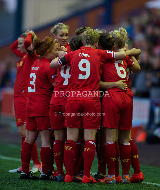WIDNES, ENGLAND - Thursday, April 17, 2014: Liverpool Ladies' players celebrate a goal but it is disallowed against Manchester City Ladies during the FA Women's Super League match at the Halton Stadium. (Pic by David Rawcliffe/Propaganda)