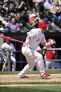 CHICAGO - MAY 13:  Adam Dunn #32 of the Chicago White Sox bats while using a pink bat on Mother's Day against the Kansas City Royals at U.S. Cellular Field in Chicago, Illinois.  The Royals defeated the White Sox 9-1.  (Photo by Ron Vesely/MLB Photos via Getty Images)  *** Local Caption ***Adam Dunn